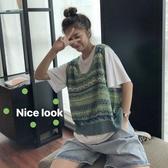 馬甲女夏天外穿學生寬鬆復古牛油果綠v領馬夾針織薄款無袖上衣潮 韓國時尚週