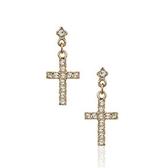 耳環 玫瑰金 925純銀鑲鑽-個性十字架生日情人節禮物女飾品2色73gs231【時尚巴黎】
