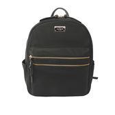 【KATE SPADE】素面尼龍金色雙拉鏈後背包(中款)(黑色)WKRU4710 001