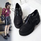 鏤空網紗單鞋女厚底鬆糕鞋