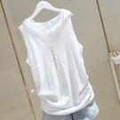 2021夏新款打底純白色連帽背心女彈力寬鬆竹節棉外穿吊帶無袖T恤「時尚彩紅屋」