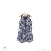 【INI】無袖有型、造型下擺雪紡長版上衣.深藍色