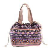 新款原創時尚可愛卡通抽繩束口飯盒袋手提包韓版清新帆布包便當包【卡米優品】
