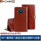 【默肯國際】IN7瘋馬紋 Nokia 8.3 (6.81吋) 錢包式 磁扣側掀PU皮套 吊飾孔 手機皮套保護殼