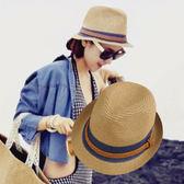 沙灘帽子女夏天爵士草帽小禮帽韓版小清新夏季海邊遮陽百搭英倫潮