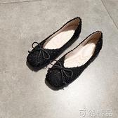 平底方頭單鞋女淺口小香風軟底奶奶鞋蝴蝶結仙女平跟豆豆鞋 雙12全館免運