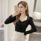 限時特價 襯衫女秋季新款韓版v領修身長袖蕾絲拼接褶皺金絲絨打底上衣