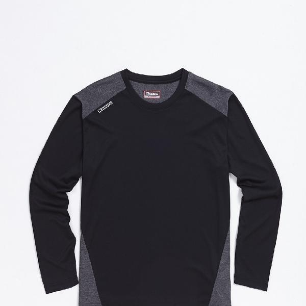 KAPPA義大利 精典型男吸濕排汗長袖衫~黑深灰麻花304P7Q0912