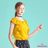 【SHOWCASE】優雅荷葉袖側綁帶圓領造型上衣(黃)