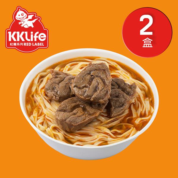 【KK Life-紅龍免運組】紅燒腱心牛肉麵2盒(牛肉湯600g*2包; 麵220g*2包)