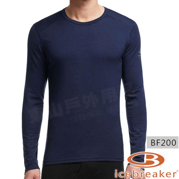Icebreaker 100476-417深藍 男羊毛圓領保暖衣Oasis 美麗諾控溫長袖休閒上衣/排汗快乾機能服