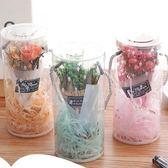 【BlueCat】迷你乾燥花滿天星康乃馨玫瑰勿忘我花束禮盒 香皂花 手提透明圓筒