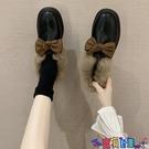 皮鞋 一腳蹬豆豆毛毛鞋女冬加絨外穿2021新款秋季小皮鞋英倫風韓版百搭 618狂歡