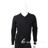 TRUSSARDI 皮革標黑色針織羊毛衫 1810246-01