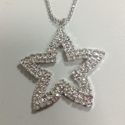 晶透水鑽爪鑲星星長項鍊