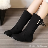 中筒靴 2020新款騎士靴女磨砂秋冬季女靴子中筒靴平跟短靴低跟內增高長靴 618購物節