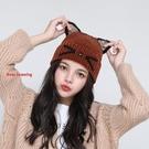 毛帽 萌耳朵帽 加絨 新款 日系 針織帽 保暖 毛線帽 新飾界