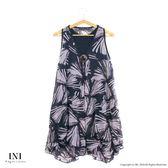 【INI】層次飄逸、雪紡設計長版削肩上衣.灰色