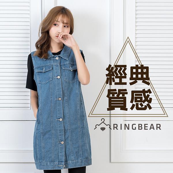 背心裙--經典質感牛仔壓紋設計多口袋顯瘦單寧連身裙/背心(藍L-3L)-U490眼圈熊中大尺碼