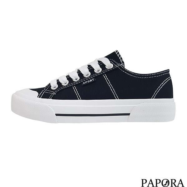 綁帶餅乾帆布鞋K8067黑/白/黃/綠PAPORA
