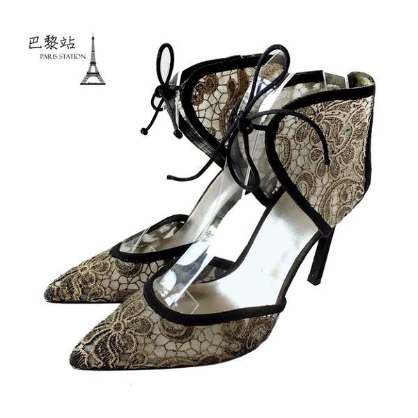 【巴黎站二手名牌專賣店】*全新現貨*Stuart Weitzman 真品*金絲花朵刺繡尖頭跟鞋(36號-38.5號)