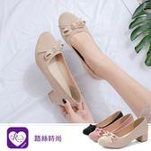 韓系甜美浪漫蝴蝶結造型圓頭粗跟娃娃包鞋/3色/35-43碼(RX1071-186-12) iRurus 路絲時尚
