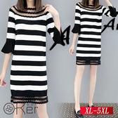 微透膚網紗拼接顯瘦橫條連衣裙 XL-5XL O-Ker歐珂兒 155007-C