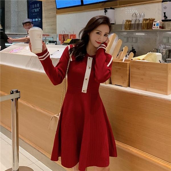 超殺29折 韓國風收腰小香風甜美顯瘦氣質針織長袖洋裝