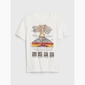 Gap男童棉質舒適圓領短袖T恤539391-光感亮白