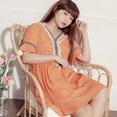 Poly Lulu 波西米亞圖騰刺繡流蘇傘擺洋裝-粉橘【92270370】