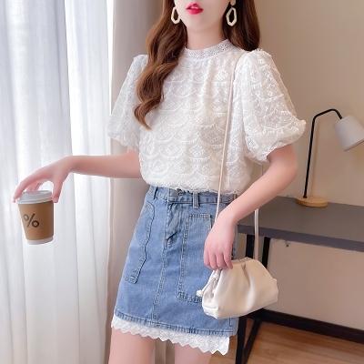 短袖套裝~7260#甜美減齡時尚網紅炸街蕾絲衫拼接牛仔半身裙兩件套H311-E胖妞衣櫥