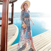 波希米亞長裙-夏季優雅五分袖雪紡洋裝73sg29【巴黎精品】