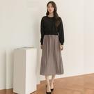 【限量現貨供應】韓國製.雜誌款氣質假兩件拼接百褶裙長袖洋裝.白鳥麗子
