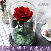 永生花小王子玫瑰真花帶燈玻璃罩禮盒擺件情人節生日DIY禮物干花jy 快速出貨全館免運