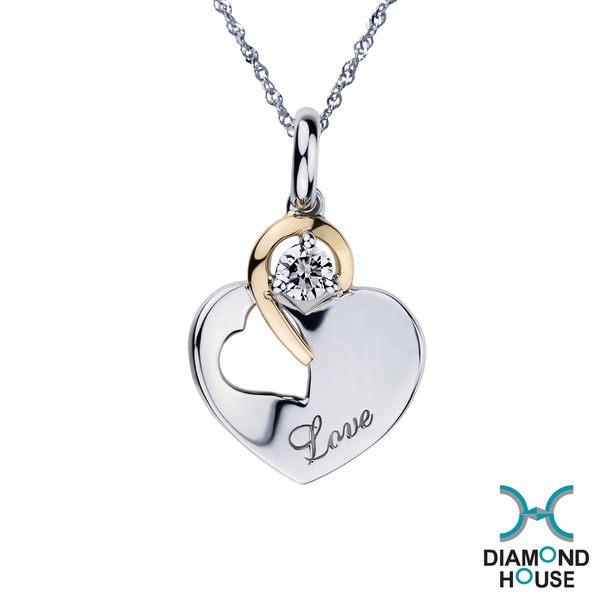 【鑽石屋】10分鑽石套鍊 雙色K金 愛心項鍊DB026633