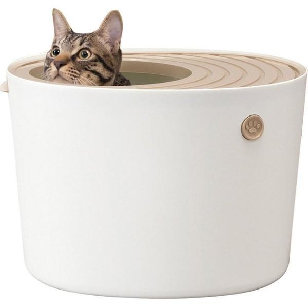 *KING WANG*日本IRIS《立桶式貓便箱-小-PUNT-430-兩色》防潑砂 貓便盆