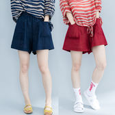 夏季新款加肥純色百搭緊腰熱褲寬鬆大尺碼女裝亞棉麻A字休閒短褲