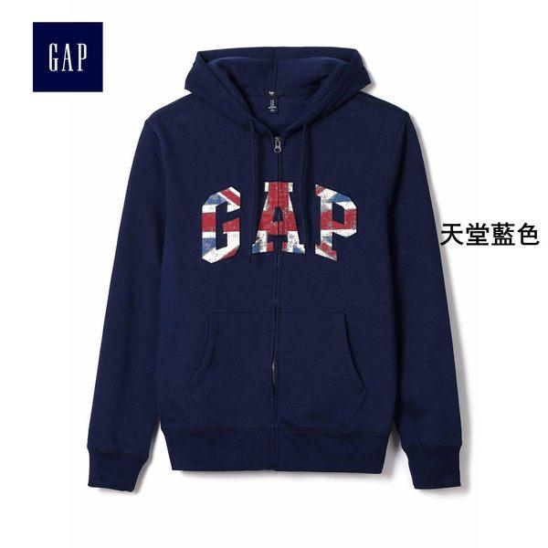Gap男裝 logo簡約連帽運動休閒上衣 814802-天堂藍色