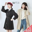 VOL937  2穿式,可當外套或連身裙  公主泡泡澎袖 X 排釦設計  優雅黑、質感杏卡~2色