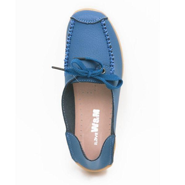 W&M 經典百搭可踩式豆豆鞋女鞋-藍(另有黑)