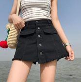 現貨清出~短褲女假兩件寬鬆高腰顯瘦A字裙褲裙闊腿百搭牛仔短褲女夏 7-18