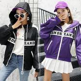 風衣外套 韓版 短款bf原宿寬鬆嘻哈棒球夾克  花漾小姐【預購】