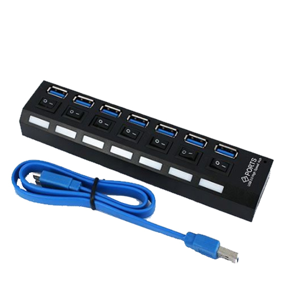 USB3.0 HUB 獨立開關 7ports 7口 集線器 分線器 擴充槽 插座型 七孔(80-2601)