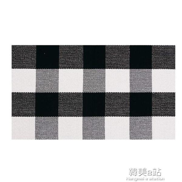 現貨 一件代發棉質格子黑白格子地墊門墊廚房浴室戶外門廊洗衣編織地毯 韓美e站