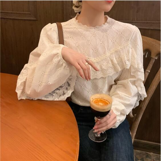 蕾丝衬衫女外穿设计感百搭衬衣2021早春新款韩版气质长袖小众上衣