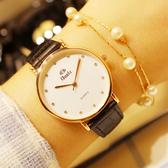 韓版時尚潮流男女學生情侶錶防水超薄石英手錶皮帶男錶水鑽女士錶 免運