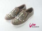 Velle Moven 鑽與珍珠譜出美麗印地安圖 鬆緊真皮休閒鞋 綠棕色