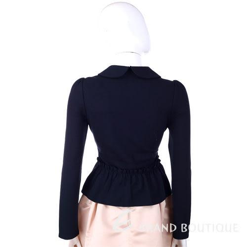 VALENTINO 深藍色 娃娃領 抓褶荷葉下襬 拉鍊外套 1310558-34