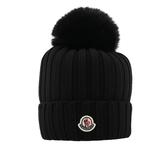 【Moncler】毛球logo羊毛帽(黑色) 3870201 A9327 999