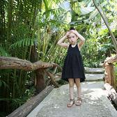正韓女童夏天裙子童裝海邊度假森繫長裙前短後長親子背心無袖長裙